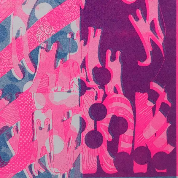 Risograph Print Caution Pink close