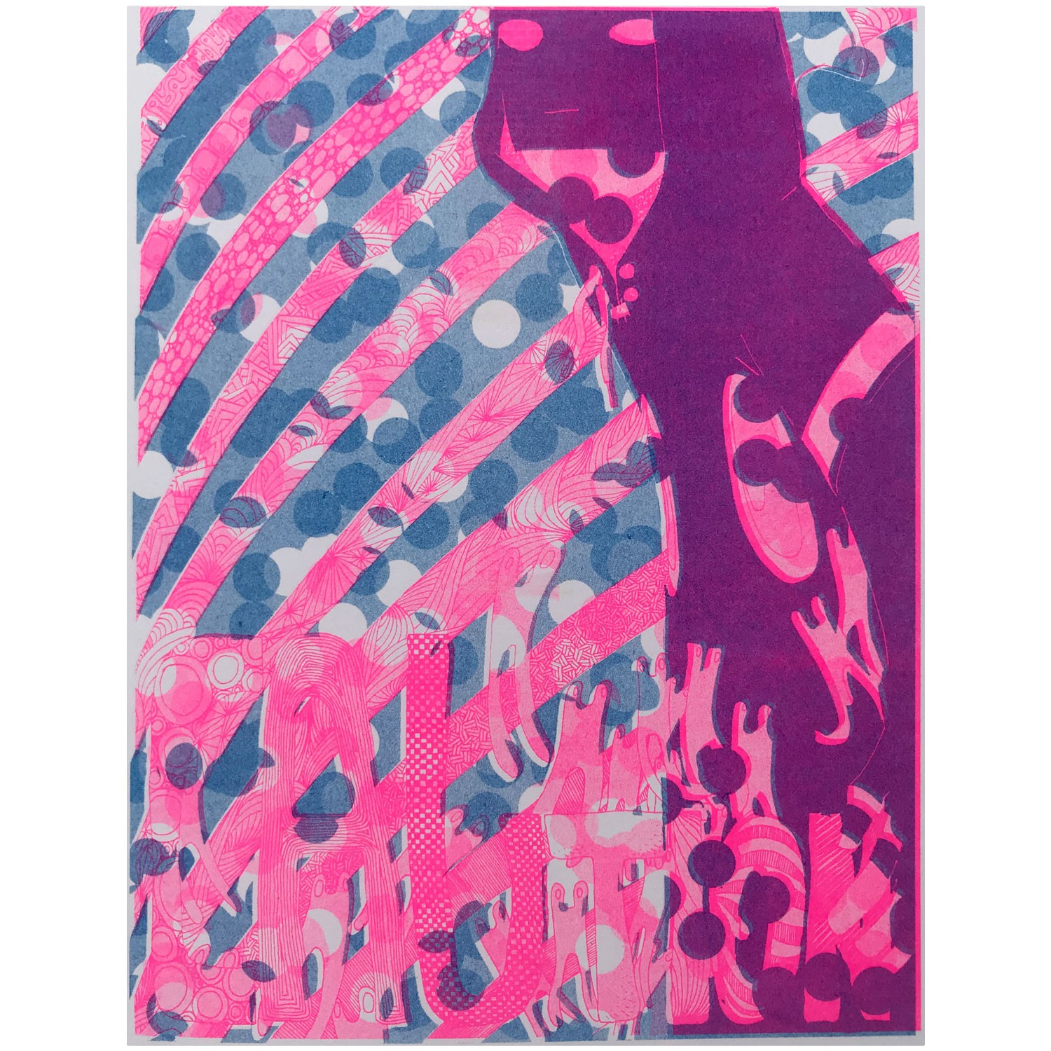 Risograph Print Caution Pink full