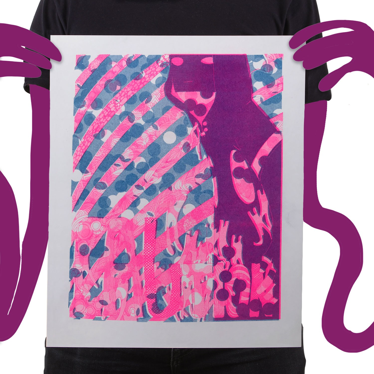 Risograph Print Caution Pink Guy