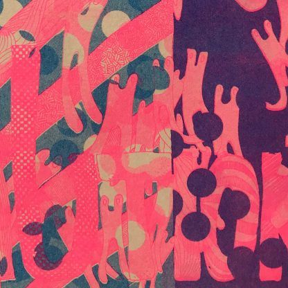 Risograph Print Caution Tan Pink close