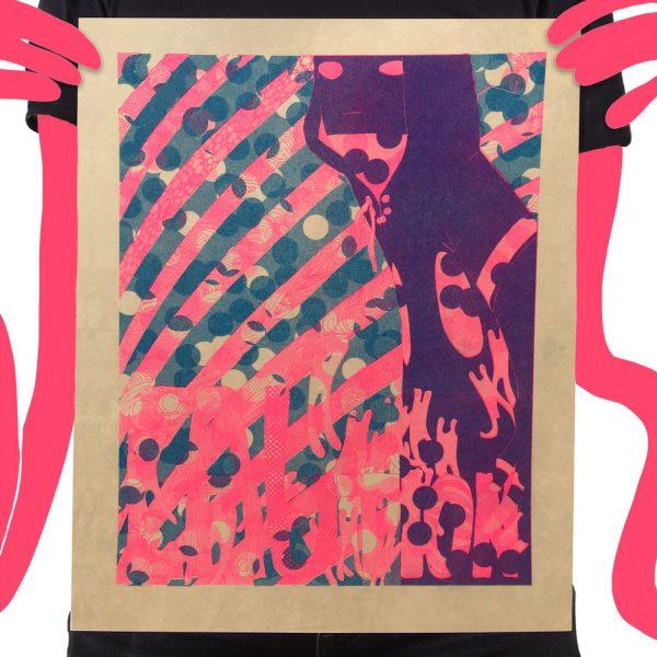Risograph Print Caution Tan Pink Guy